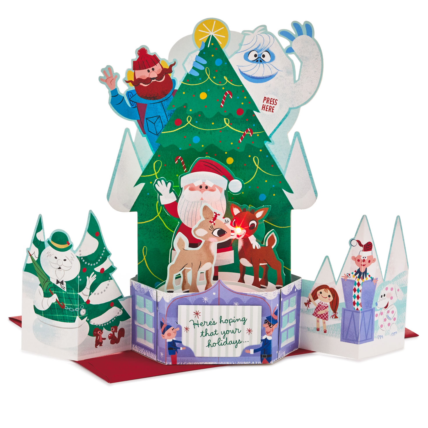 Pop Up Christmas Cards.Rudolph The Red Nosed Reindeer Musical 3d Pop Up Christmas Card With Light