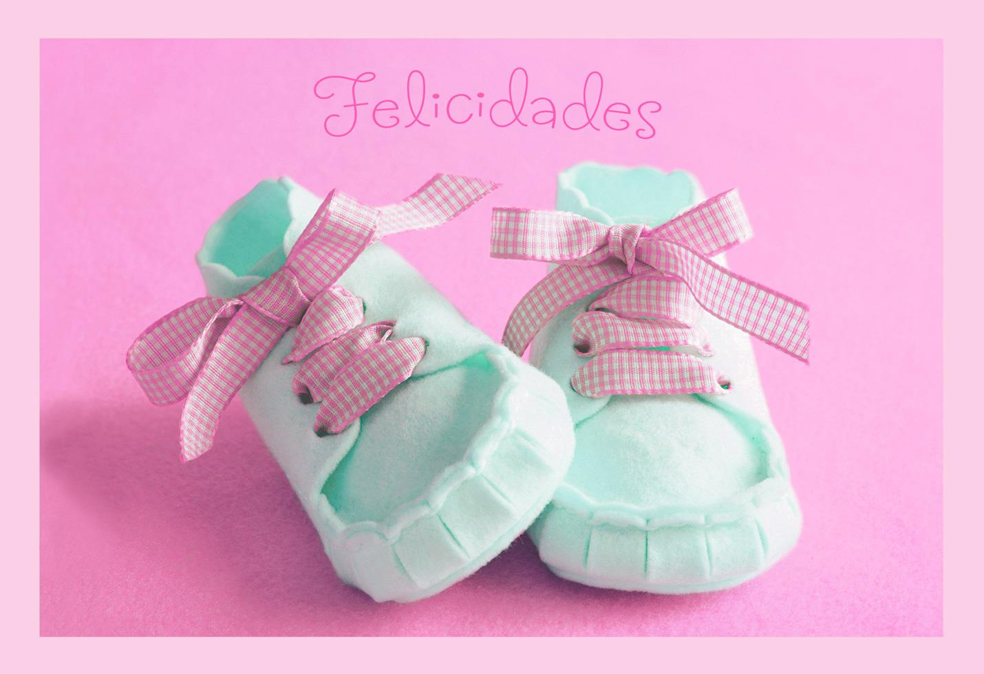 Tiny Shoes Spanish Language New Baby Girl Card