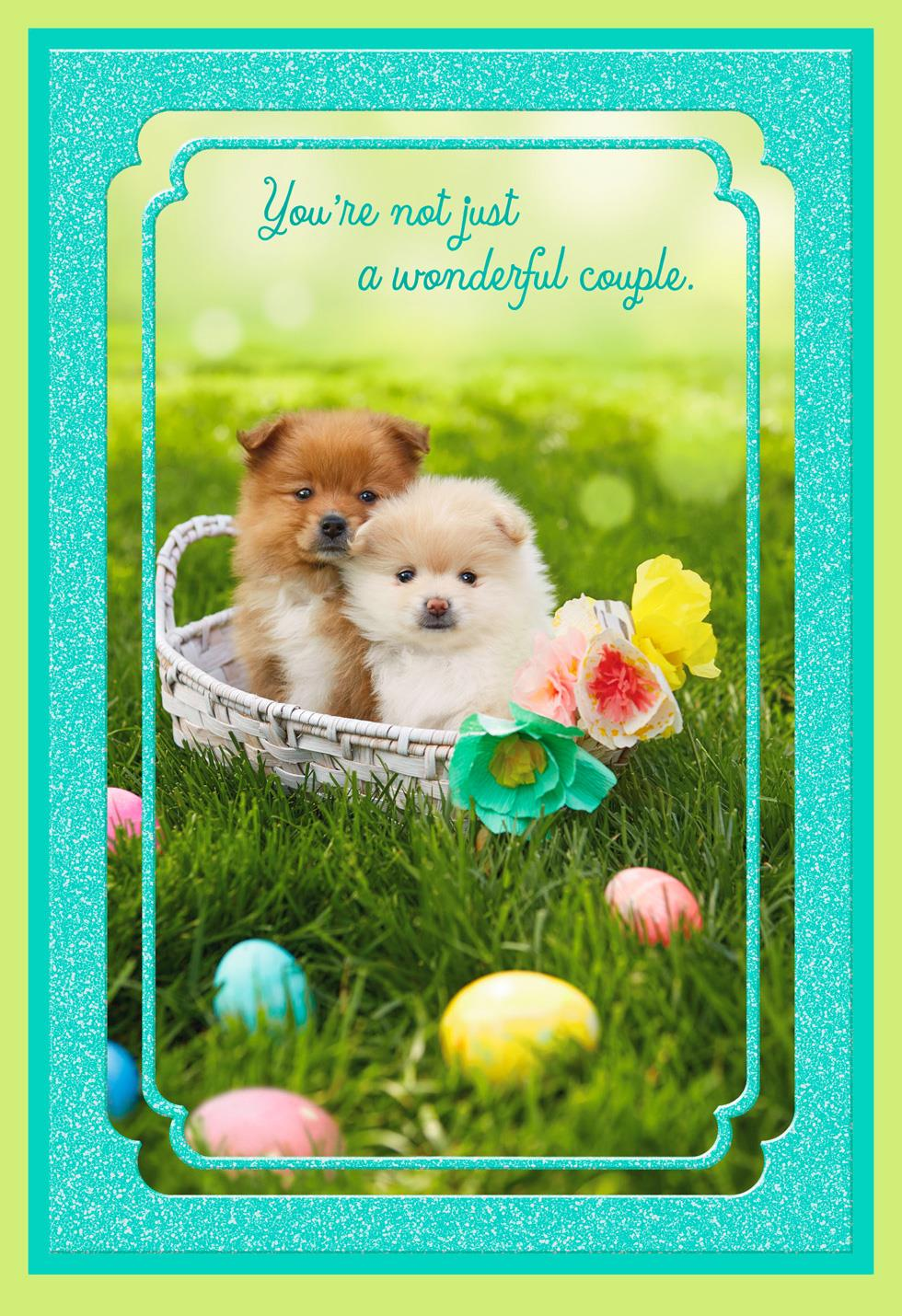 Wonderful Couple Puppies Easter Card Greeting Cards