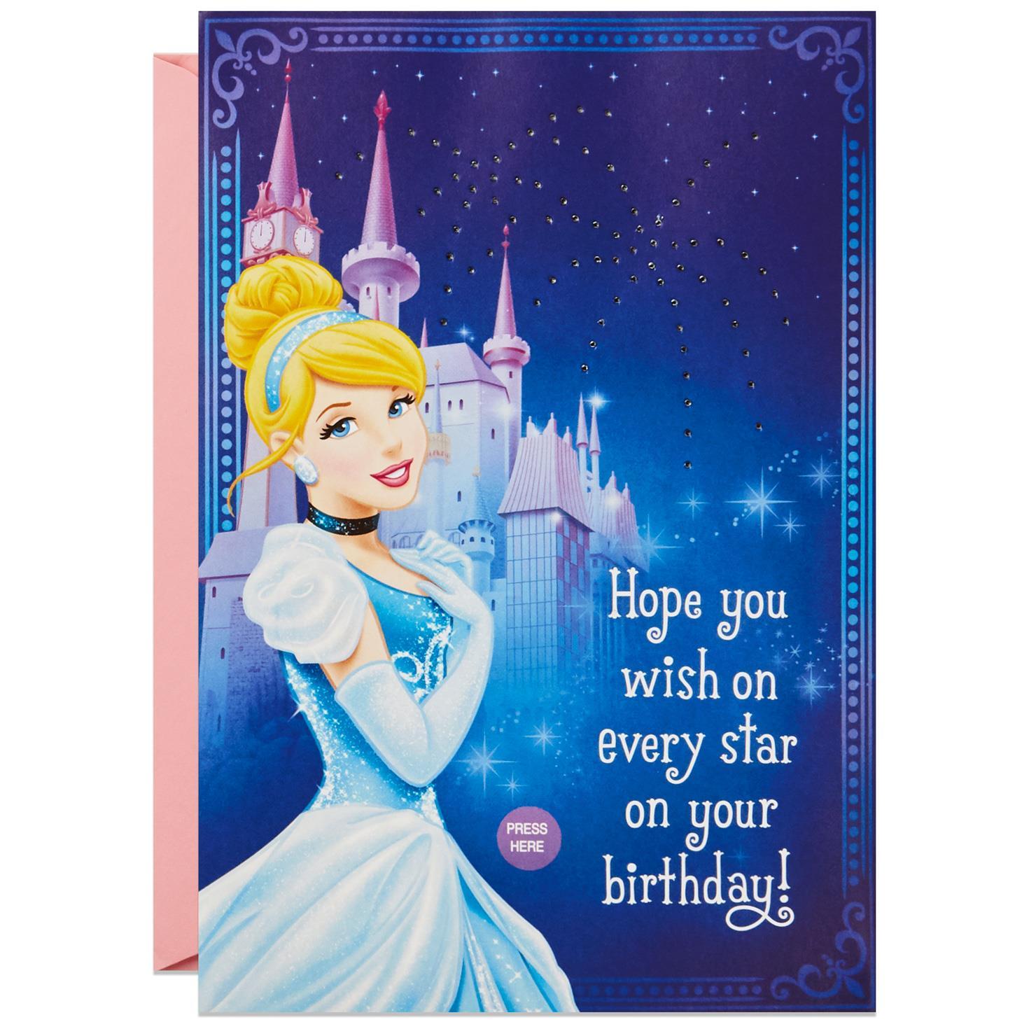 cinderella wish e true musical birthday card with light