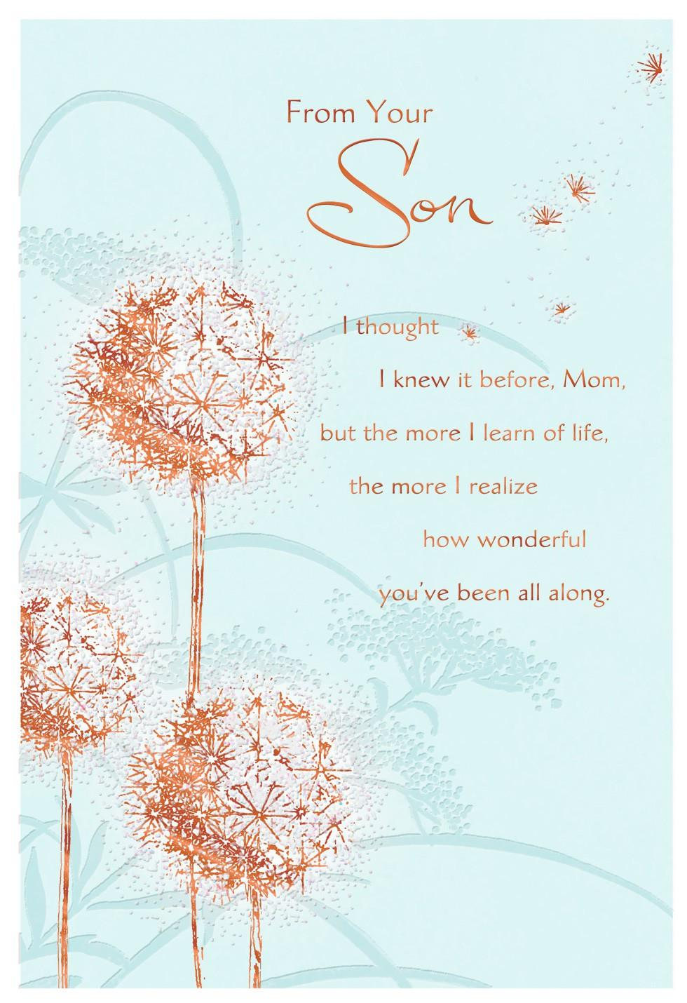 Dandelions Mother's Day Card From Son - Greeting Cards ...