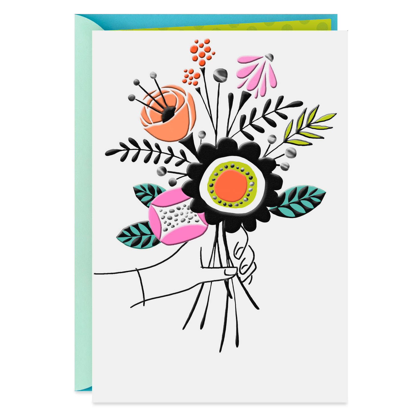 beautiful bouquet blank thank you card  greeting cards
