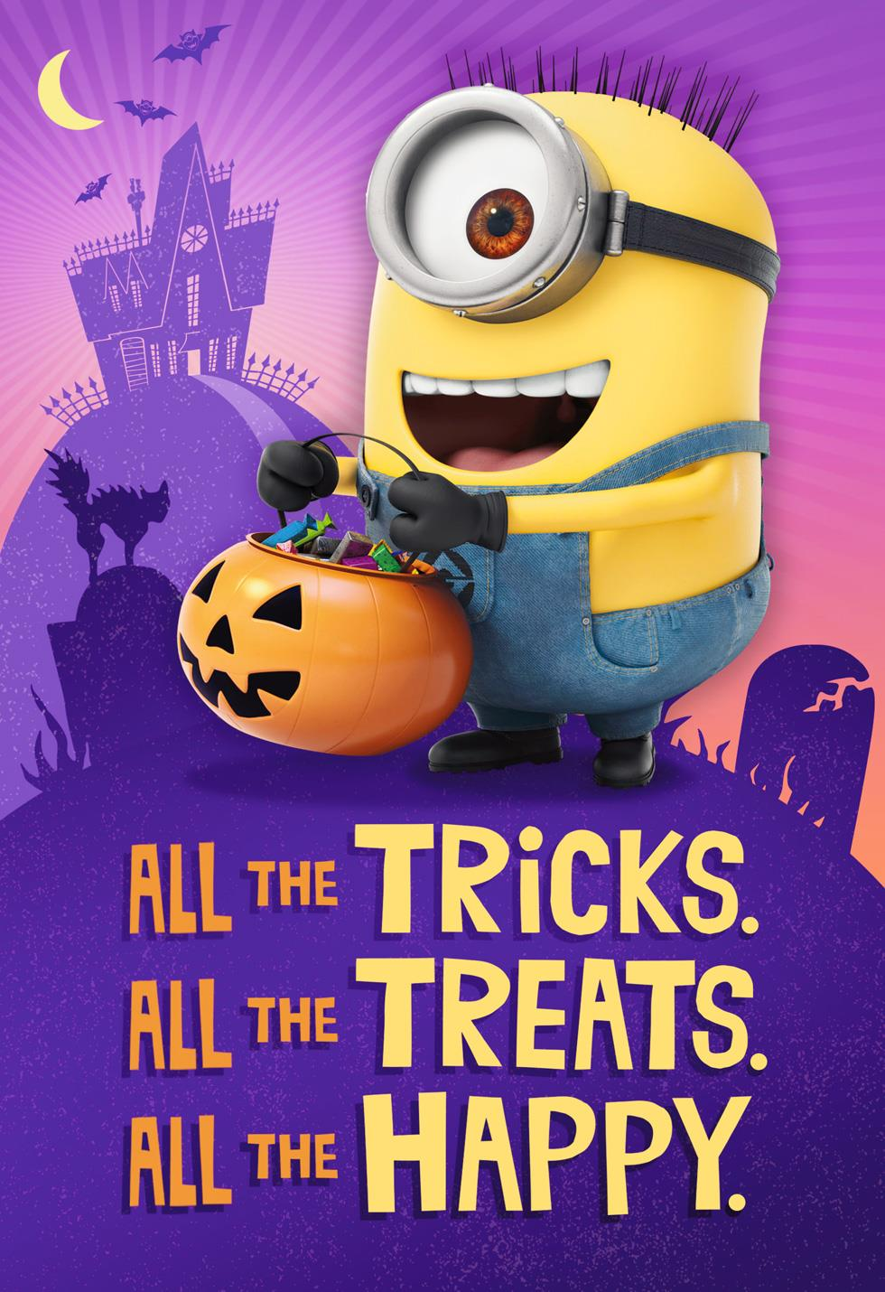 Despicable Me Happy Minions Musical Halloween Card