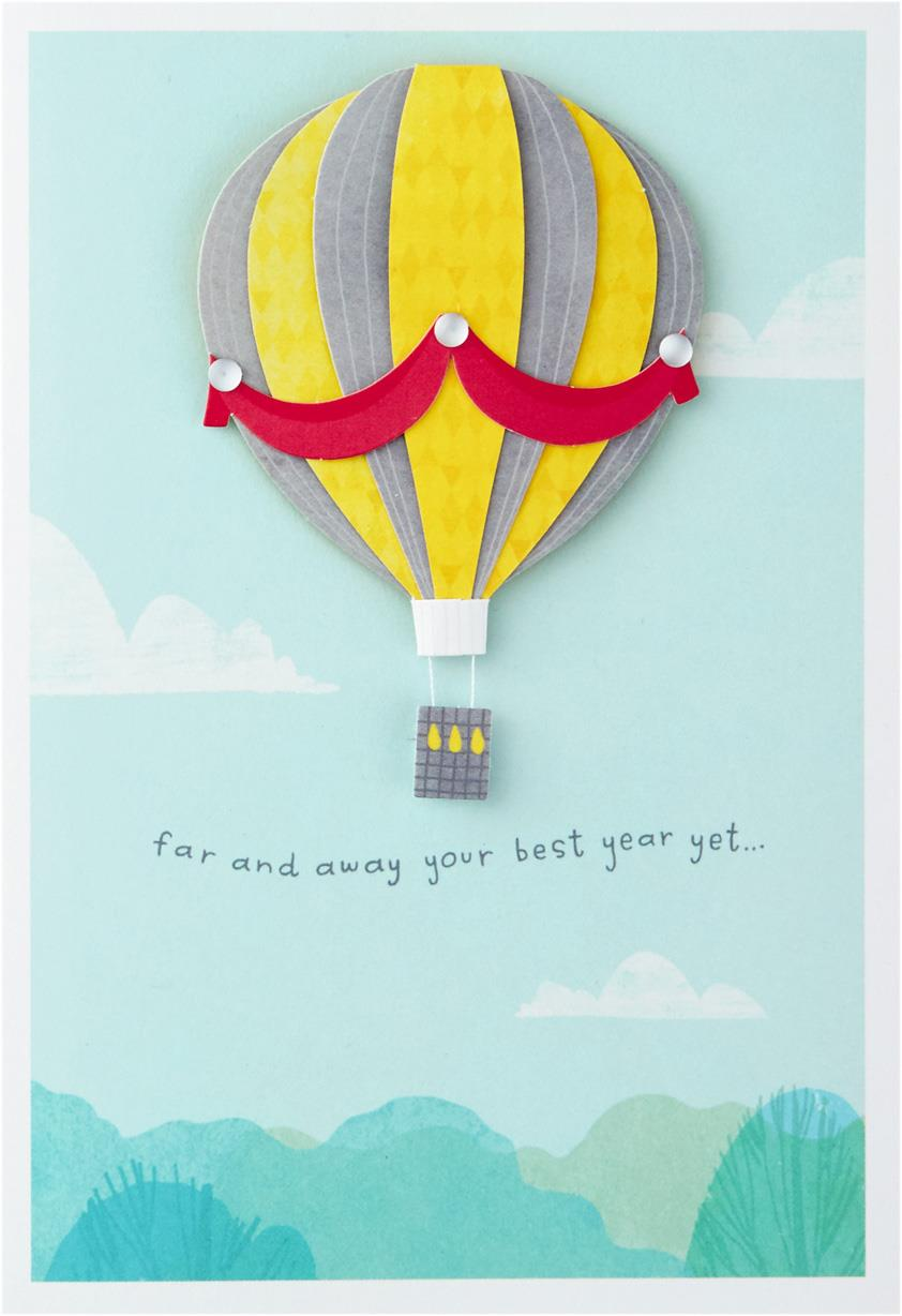 Far And Away Hot Air Balloon Birthday Card Greeting