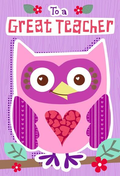 owl for teacher valentine u0026 39 s day card - end of life