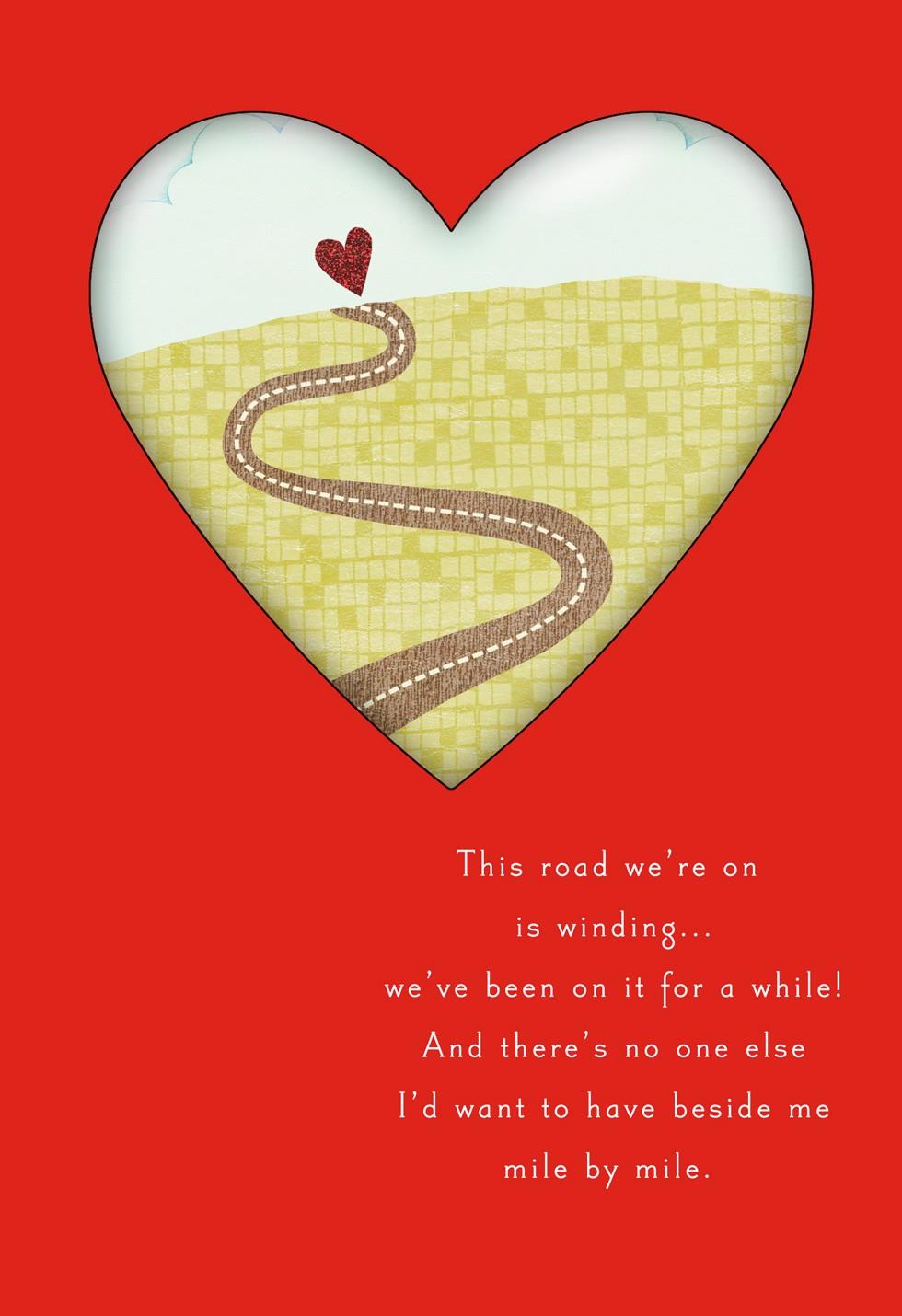 The Lovely Road of Life Valentines Card for Husband  Greeting