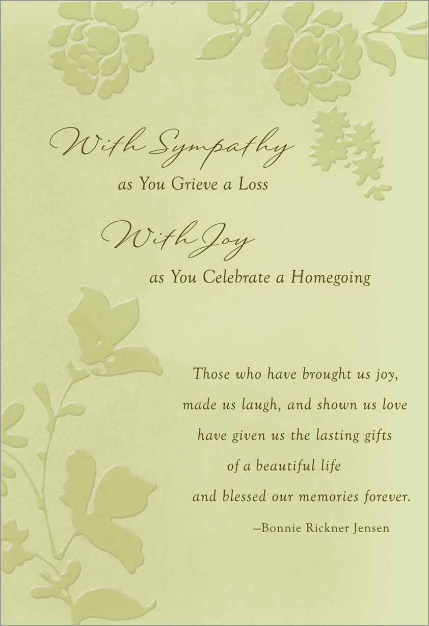 with sympathy with joy religious sympathy card greeting cards