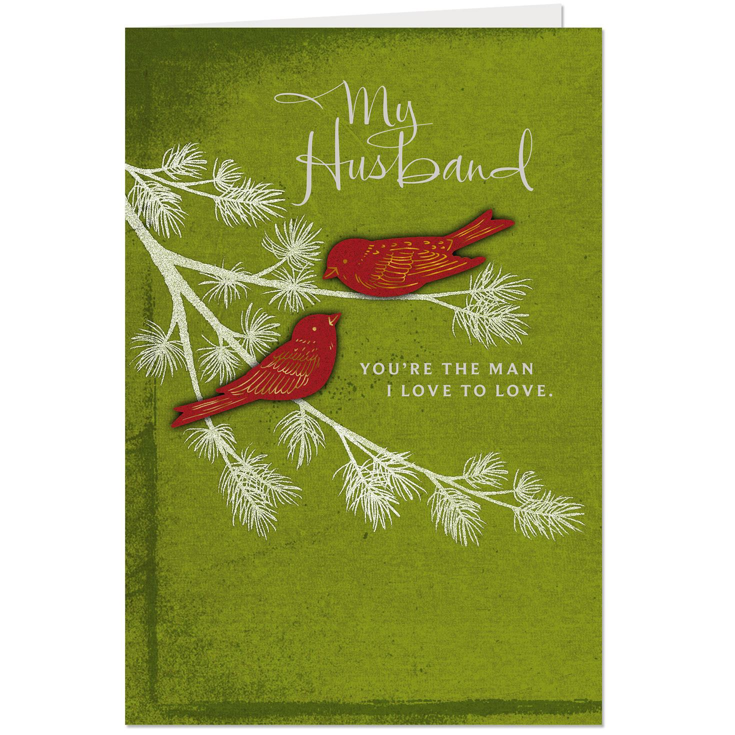 Red Birds On Pine Bough Christmas Card For Husband