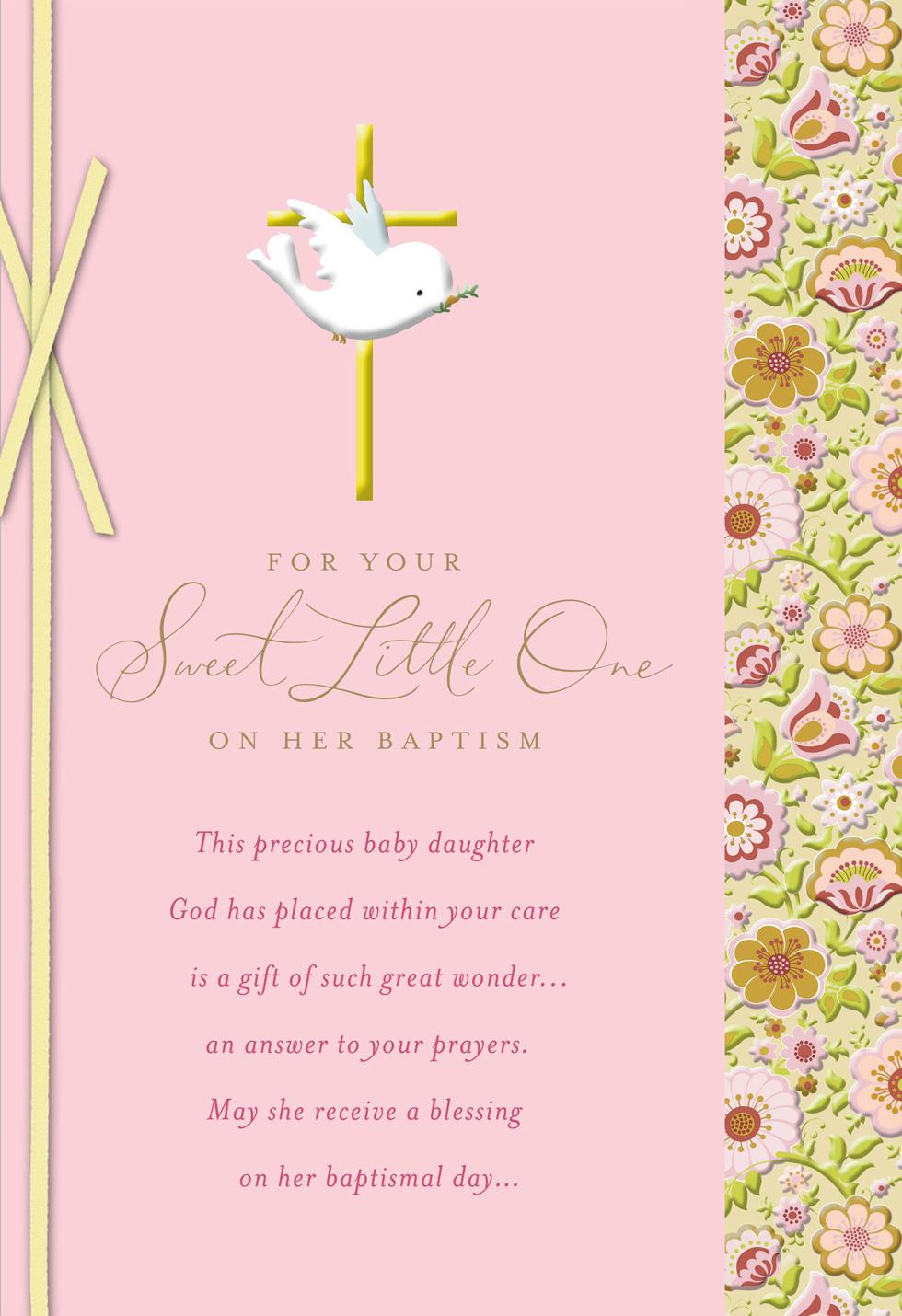 dove with gold cross baby girl baptism card