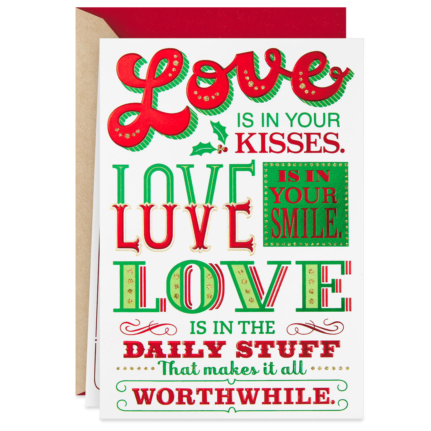 love is in your kisses romantic christmas card  greeting