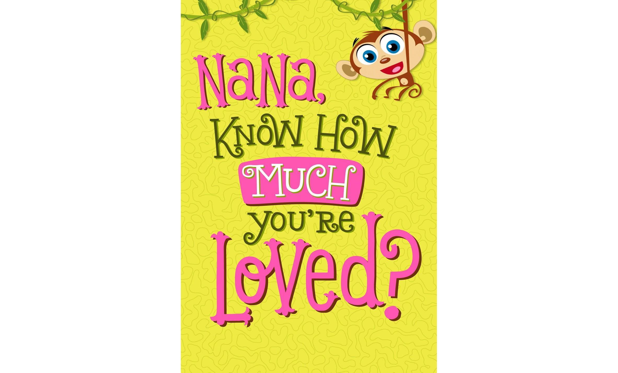 Monkey happy birthday card for nana greeting cards hallmark monkey happy birthday card for nana bookmarktalkfo Image collections