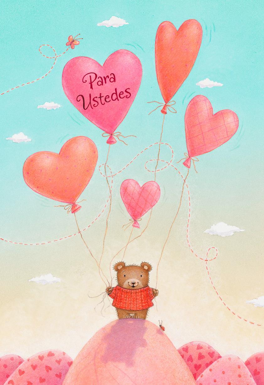 Bear U0026 Balloons Spanish Language Valentineu0027s Day Card From Child