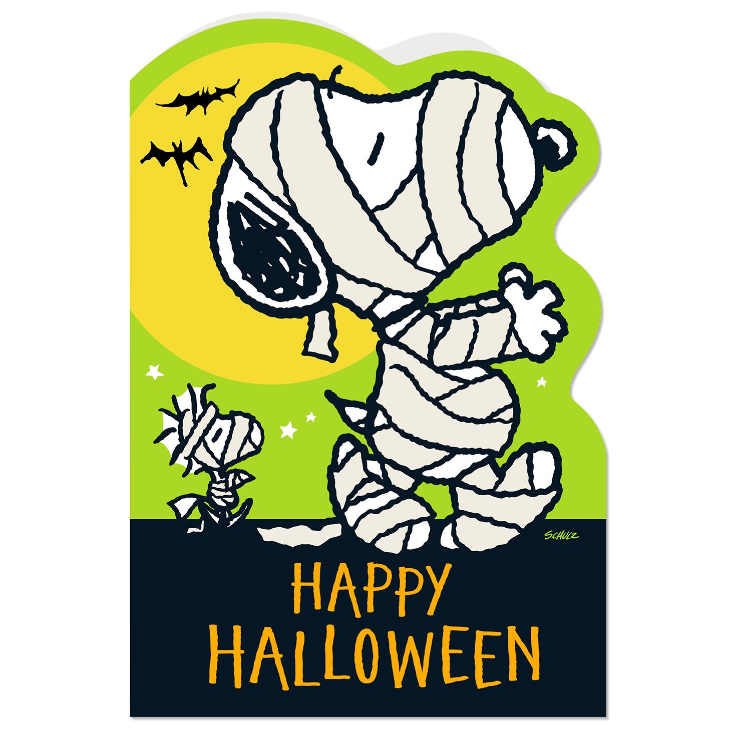 peanuts® mummy snoopy and woodstock halloween card - greeting cards