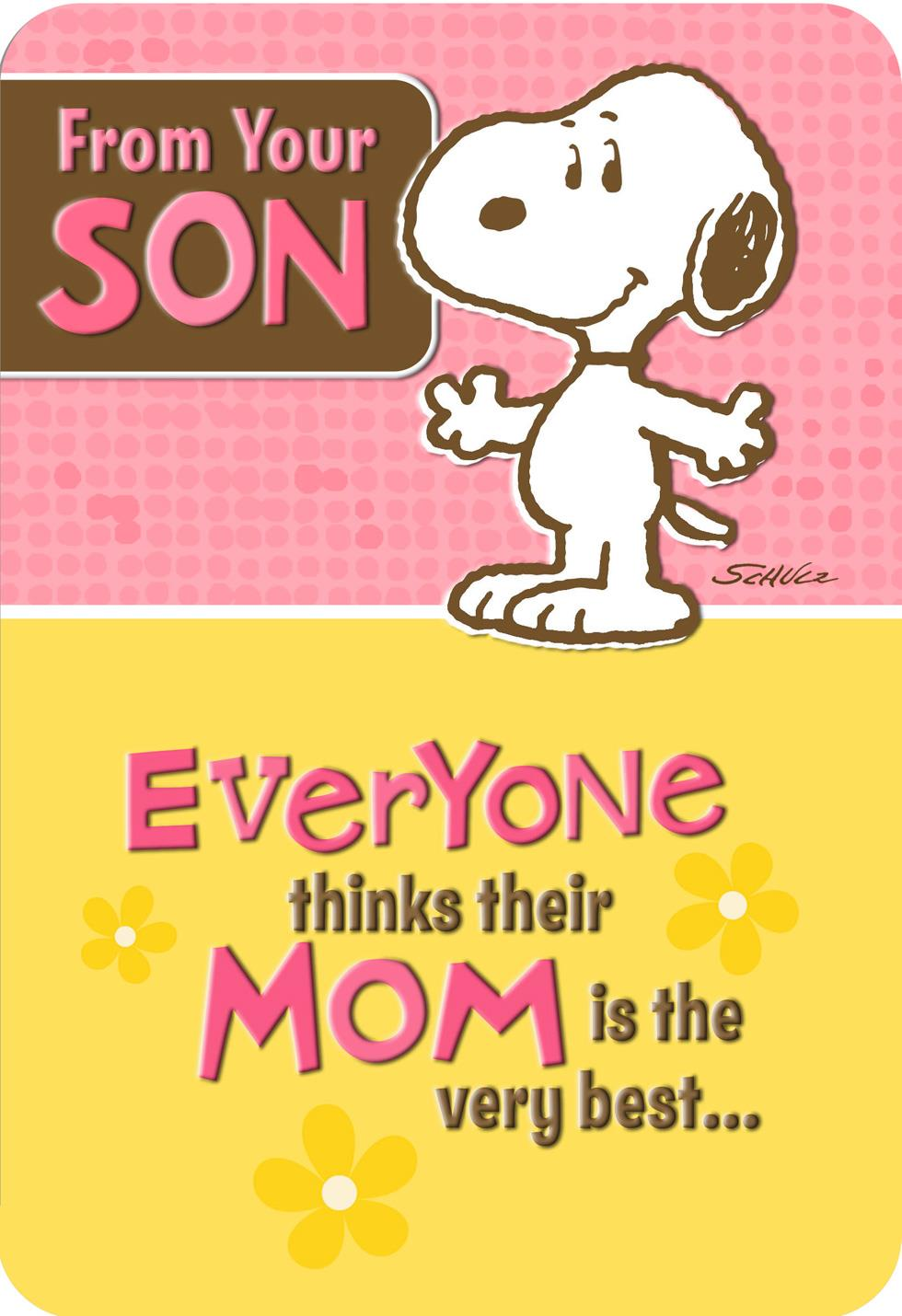 Peanuts® Snoopy Pop Up Mother's Day Card From Son | Tuggl