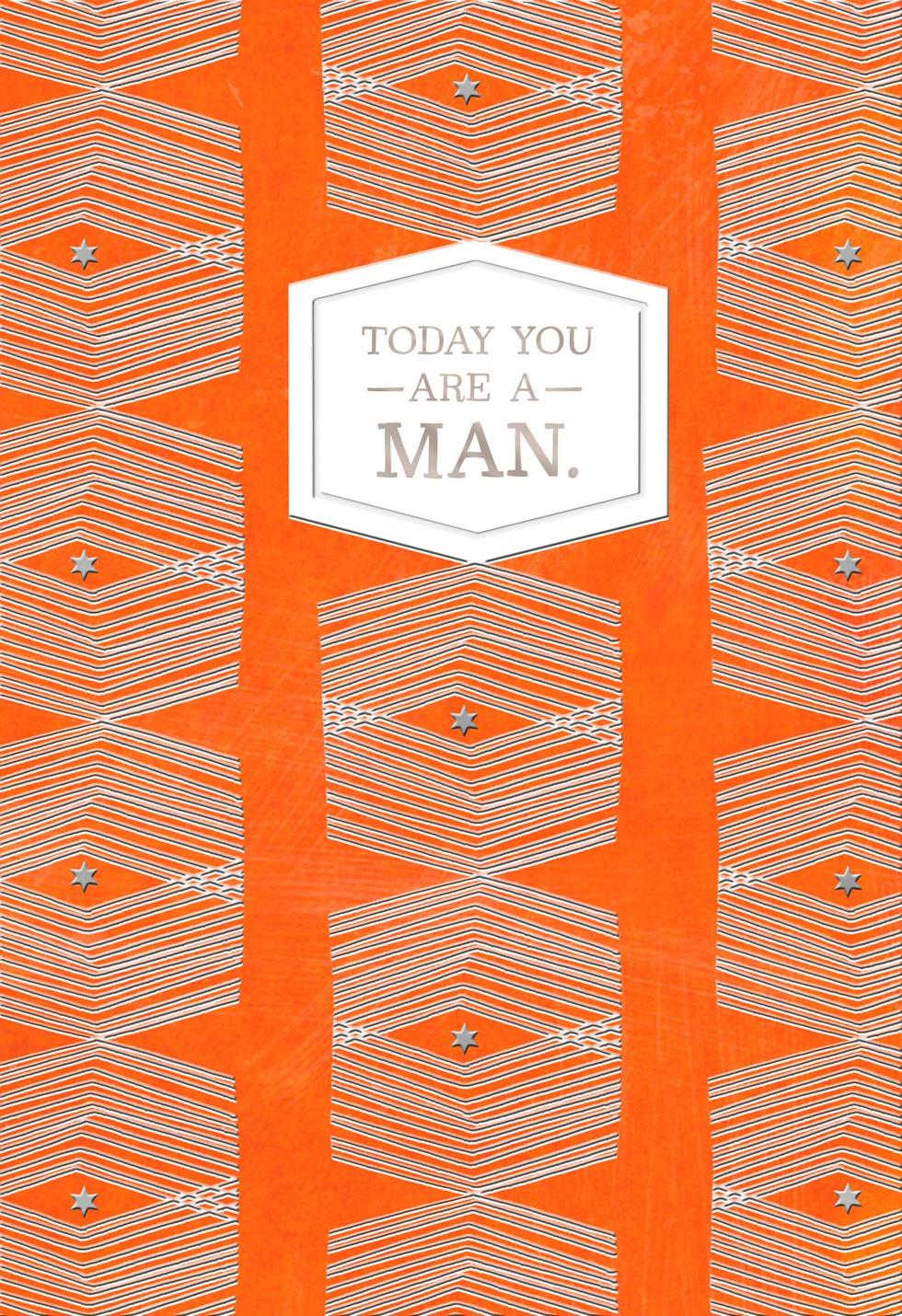 Orange Graphic Pattern Bar Mitzvah Card | Tuggl