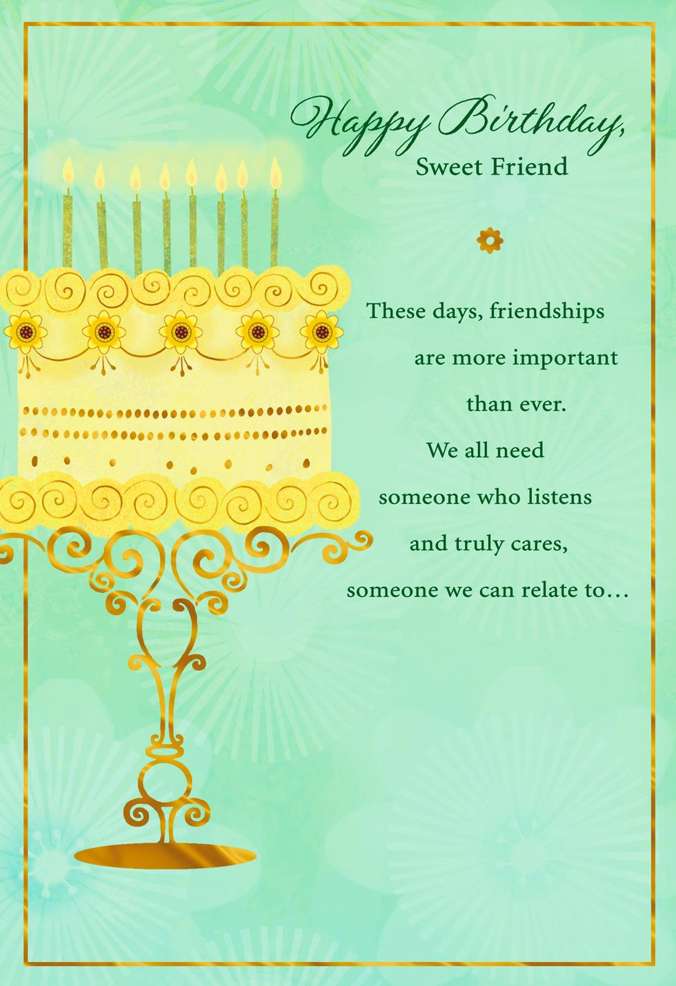 elegant cake and candles birthday card for friend
