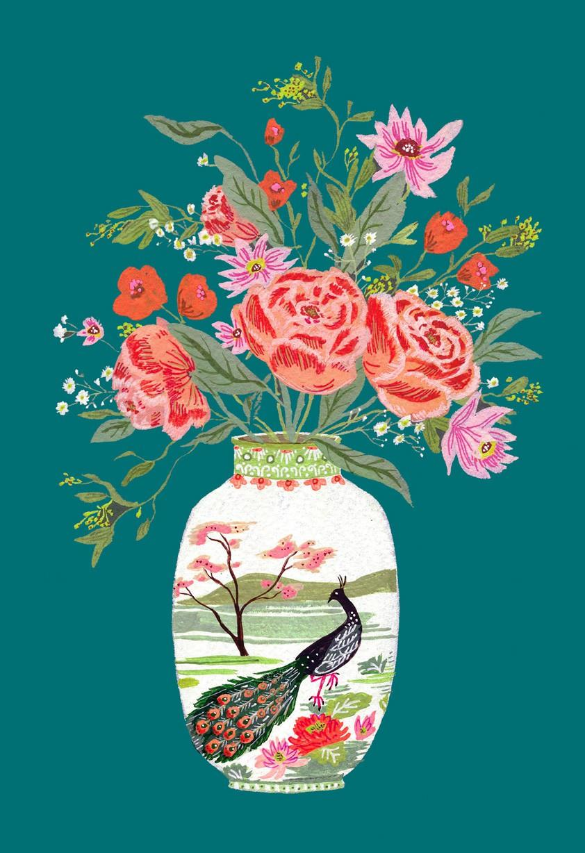Peacock vase with flowers mothers day card greeting cards peacock vase with flowers mothers day card reviewsmspy