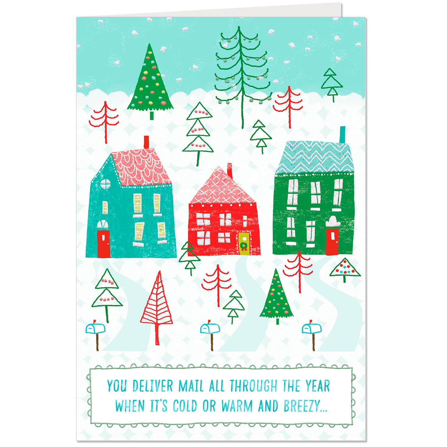 Houses in the snow thank you christmas card for mail carrier houses in the snow thank you christmas card for mail carrier m4hsunfo