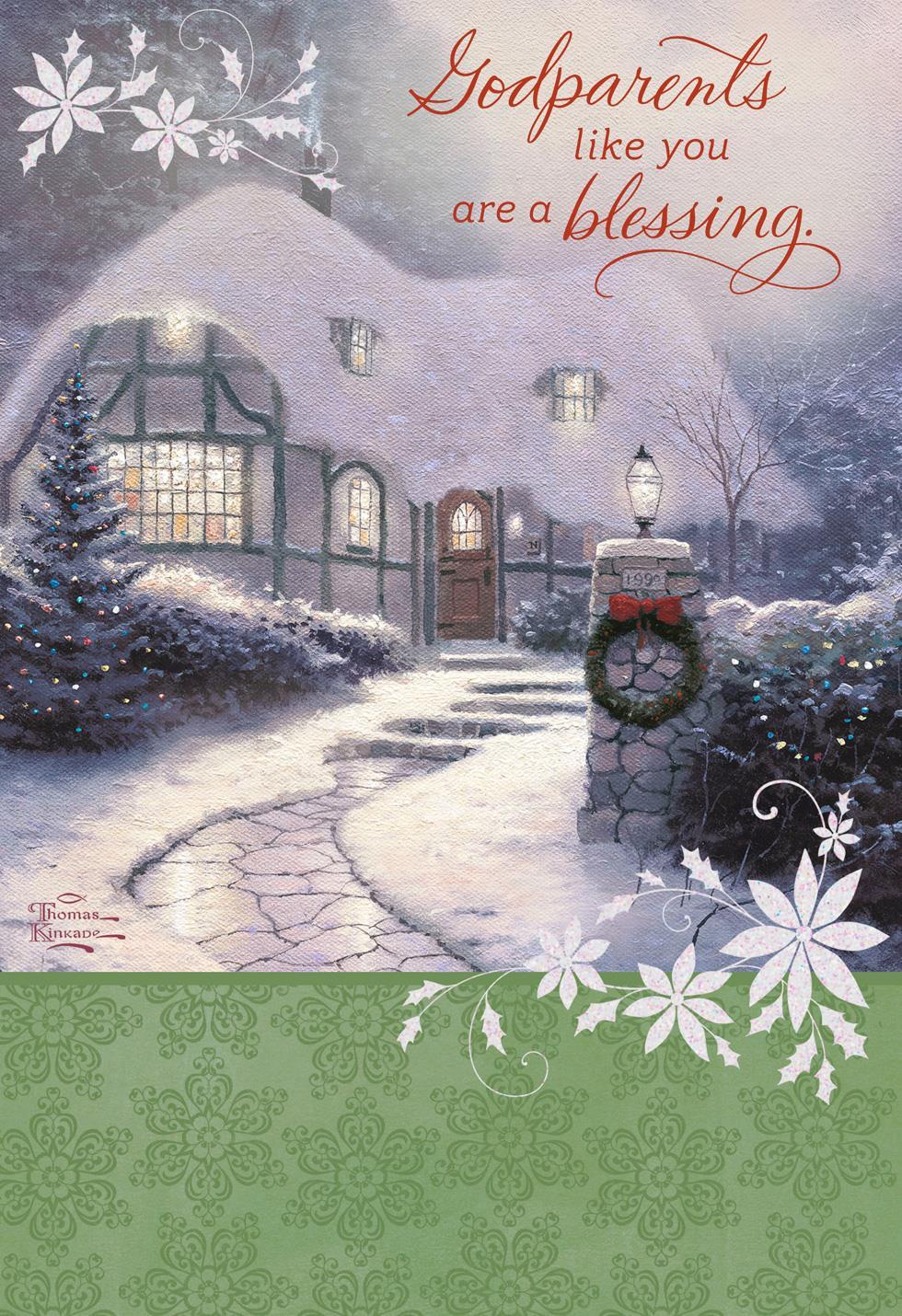 thomas kinkade youre a blessing godparents religious christmas card