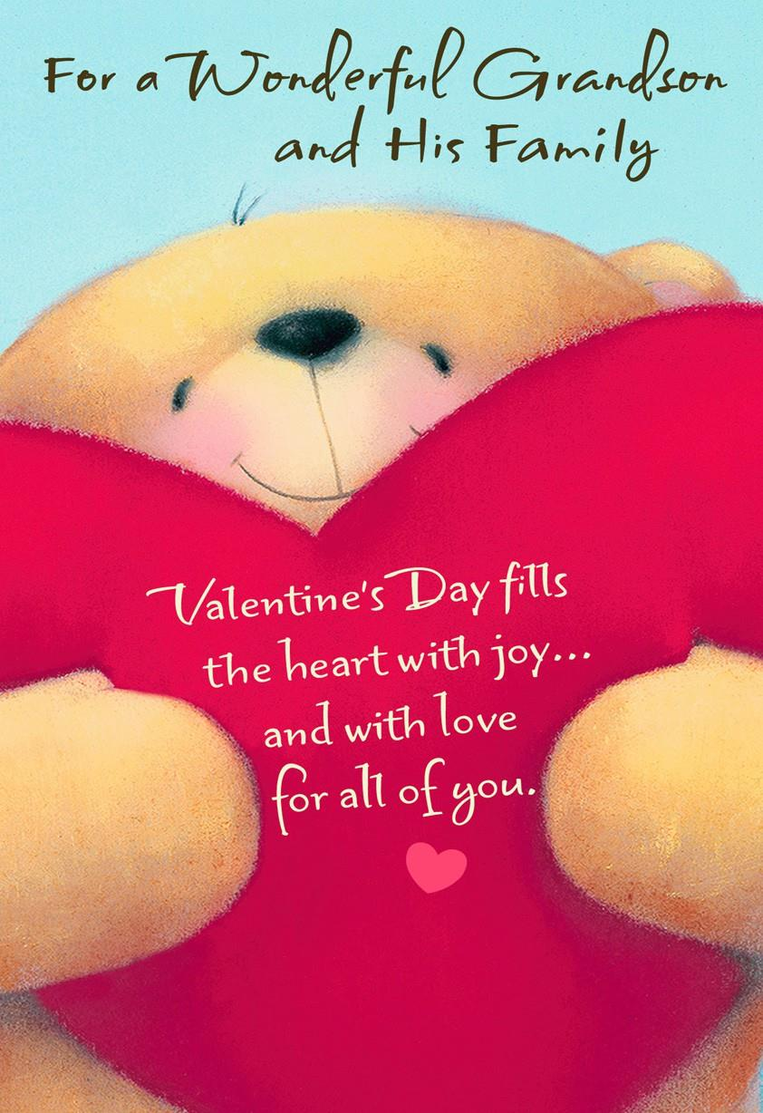 Bear Hugs for Grandson and Family Valentines Day Card Greeting – Teddy Bear Valentines Day Card