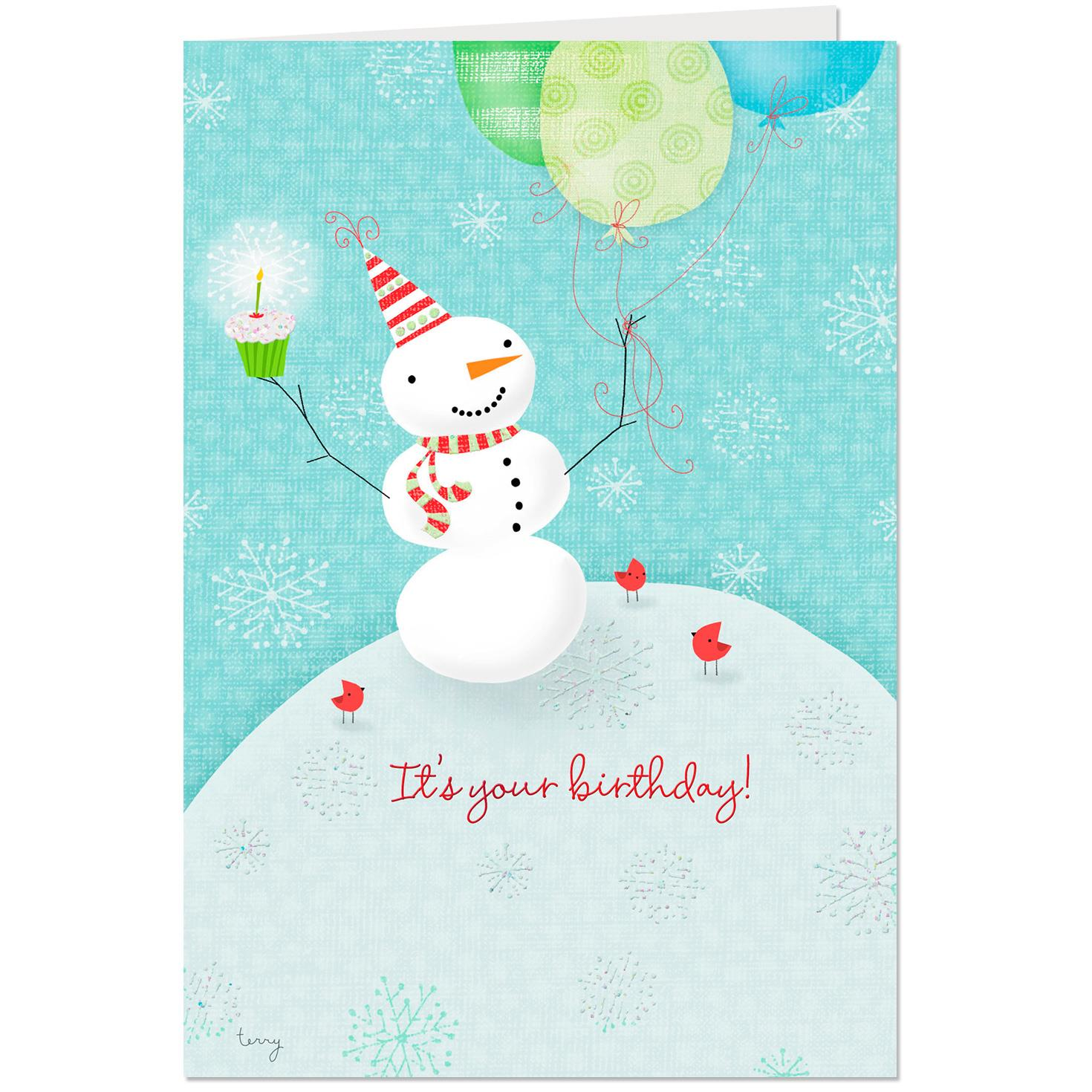 Snowman With Party Hat Christmas Birthday Card - Greeting Cards - Hallmark