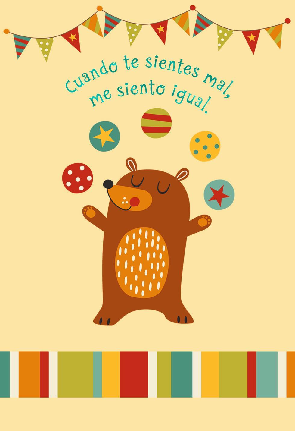 Juggling Bear Spanish Language Get Well Card Greeting