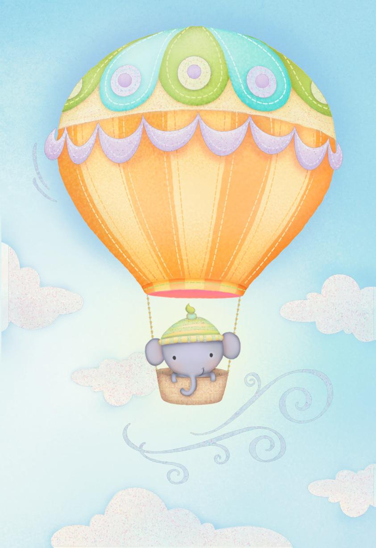 Sweet Elephant In Hot Air Balloon Blank New Baby Card