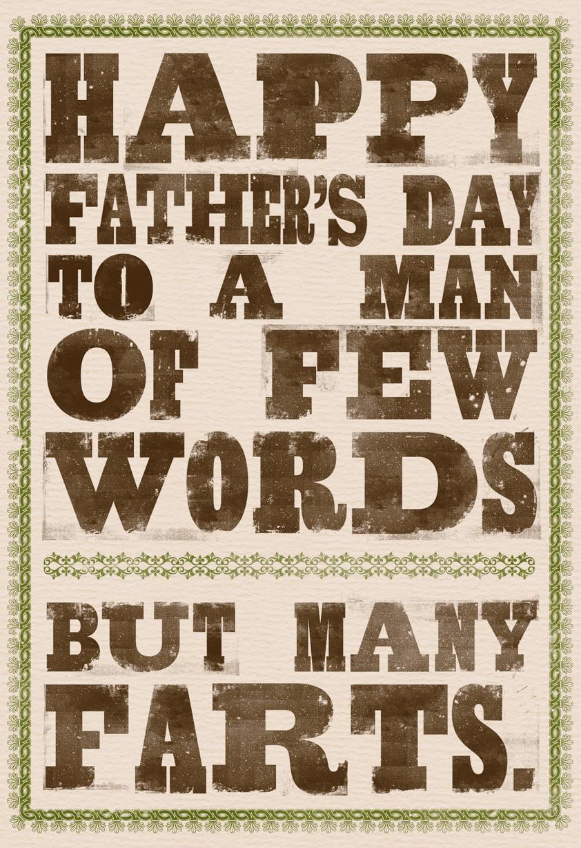 Few Words, Many Farts Funny Father's Day Card | Tuggl