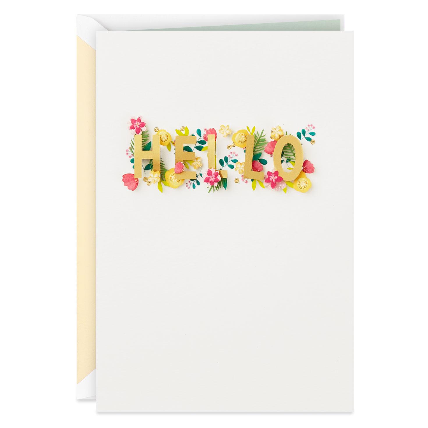 floral hello blank card  greeting cards  hallmark