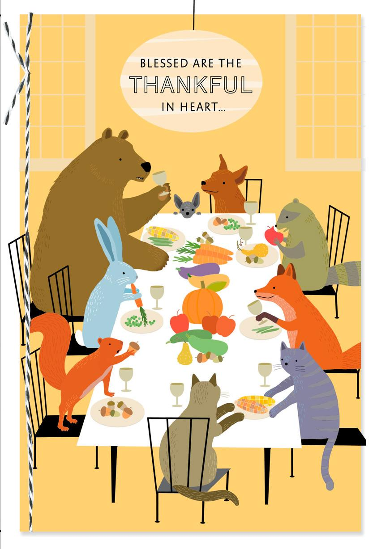 thankful heart  full belly thanksgiving card