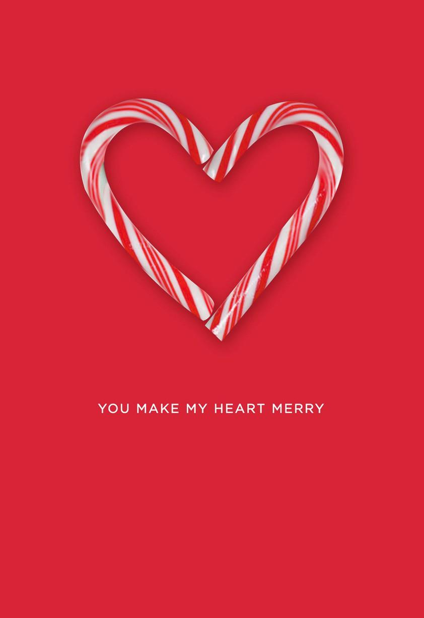 candy cane heart christmas card - greeting cards