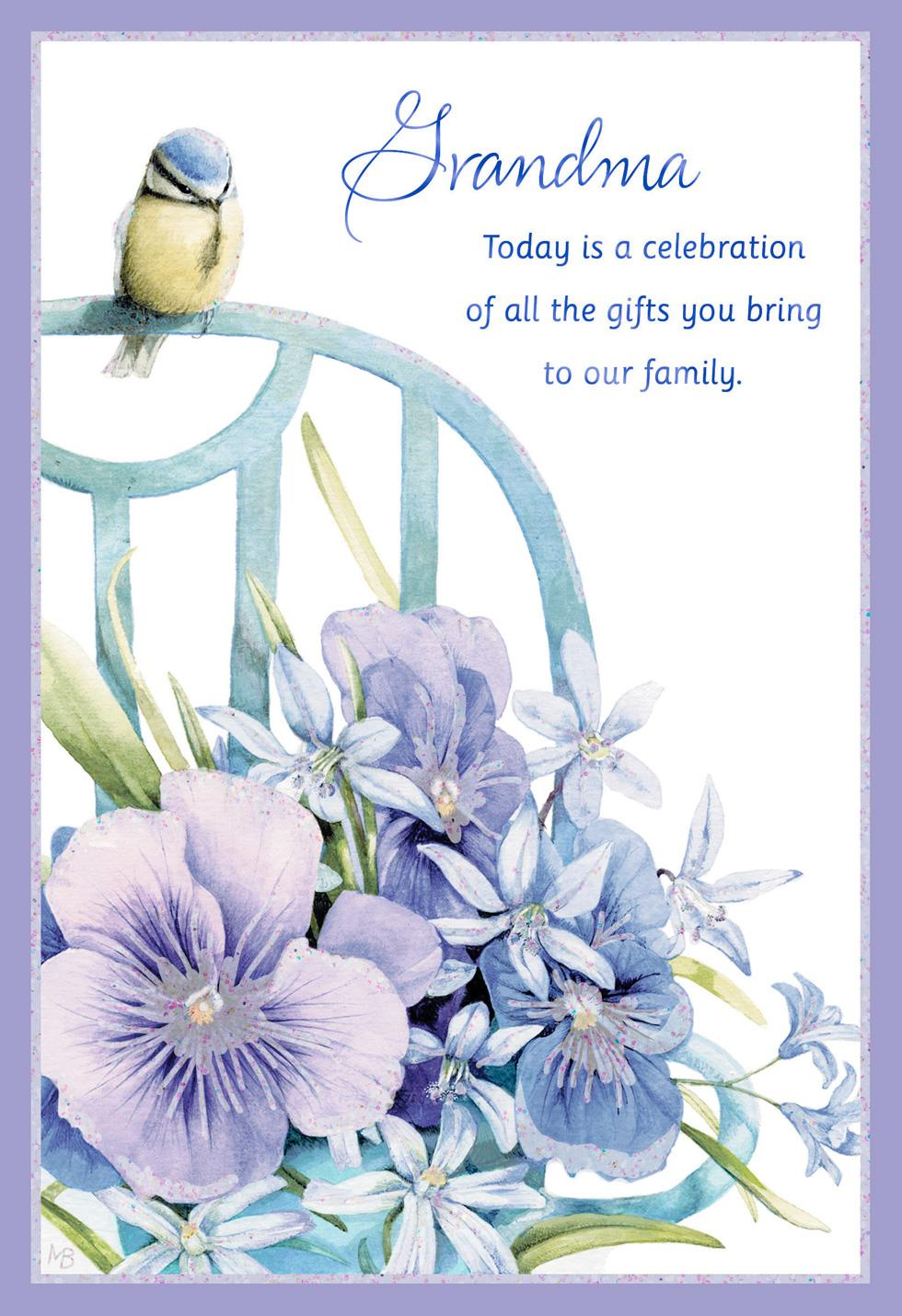 Marjolein bastin bird and flowers grandparents day card Hallmark flowers
