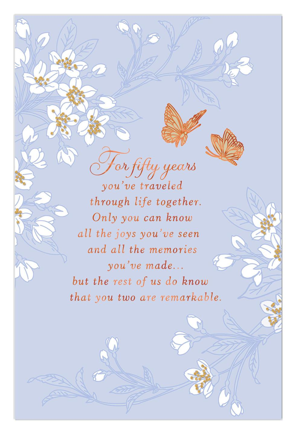 Butterfly Wishes 50th Anniversary Card Greeting Cards