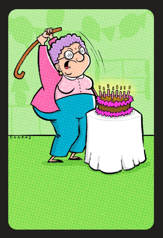 Cake Smashing Grandma Funny Birthday Card
