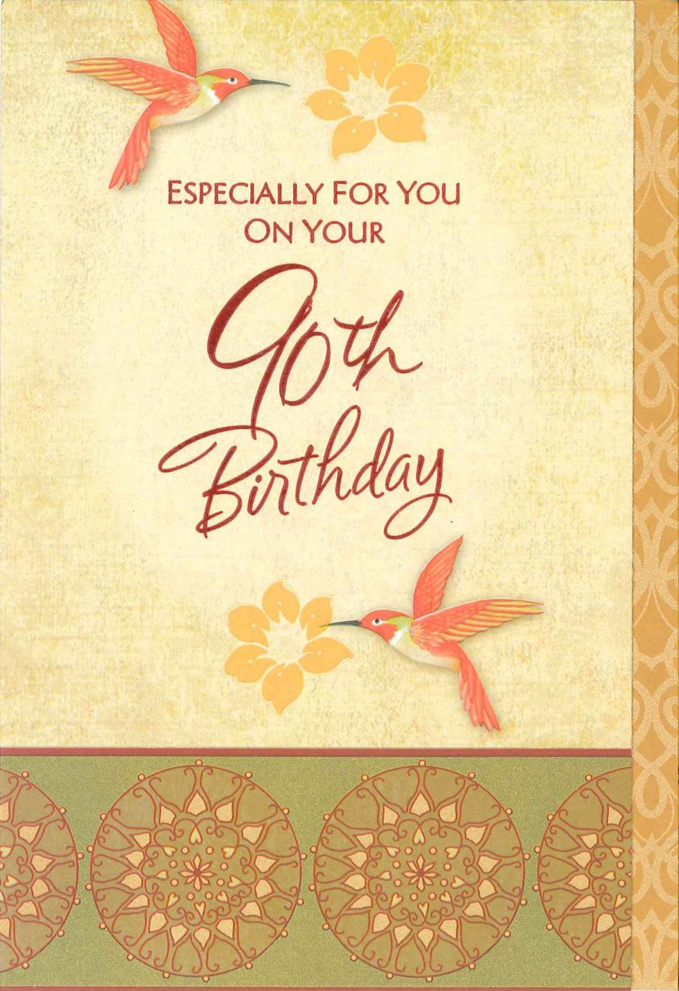 Hummingbirds And Flowers 90th Birthday Card