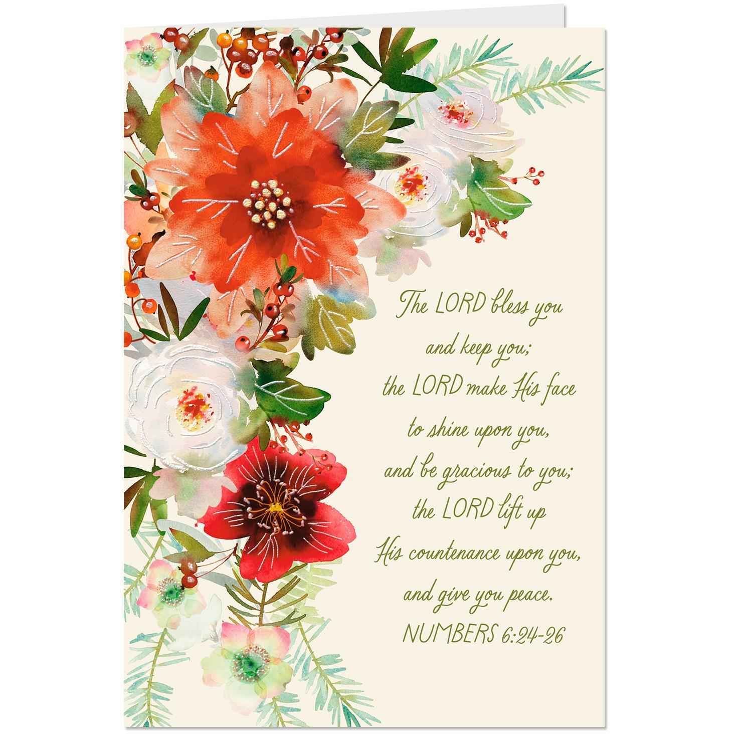 Floral Bouquet With Glitter Religious Christmas Card