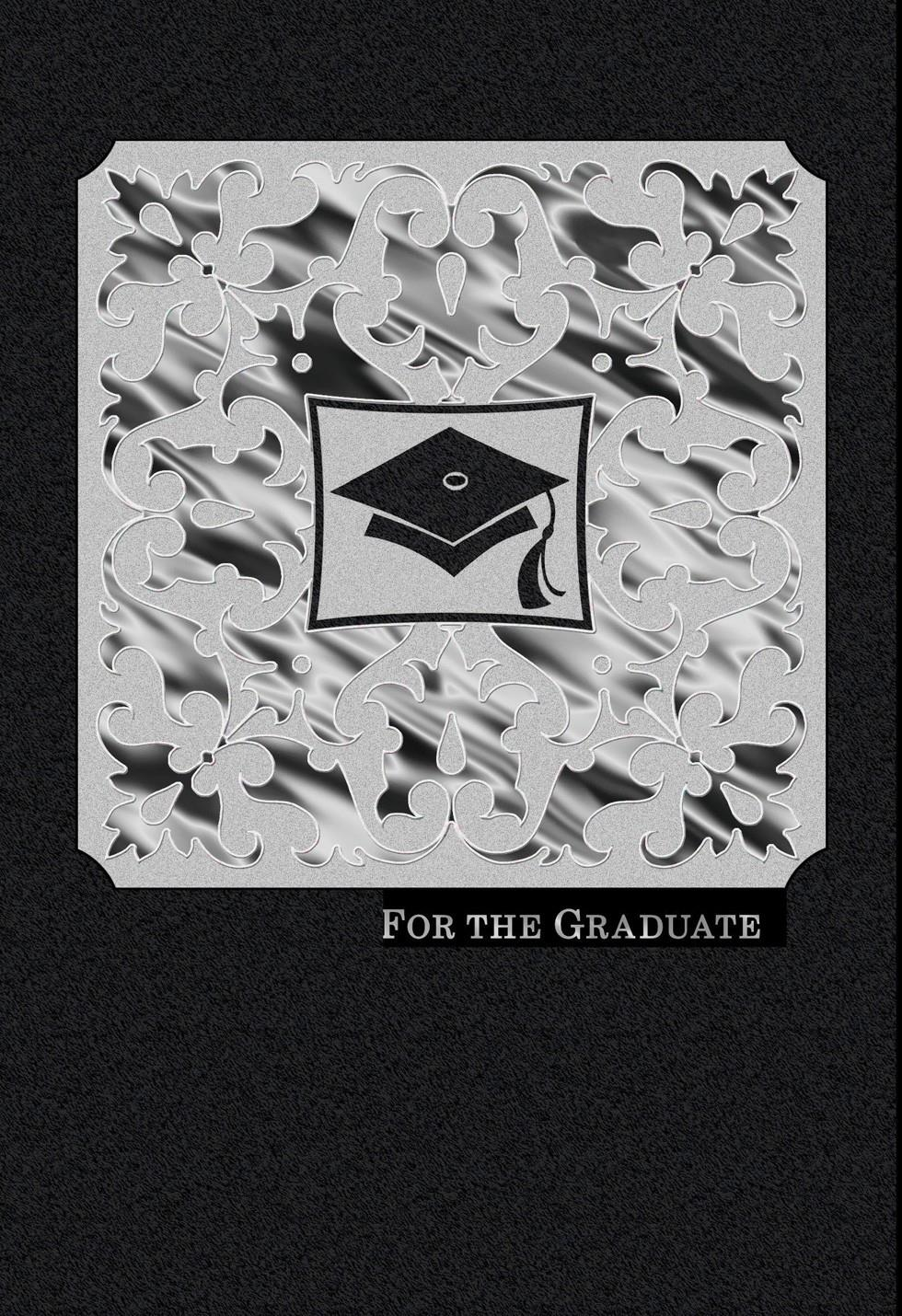 Black And White Scrollwork Graduation Card Greeting