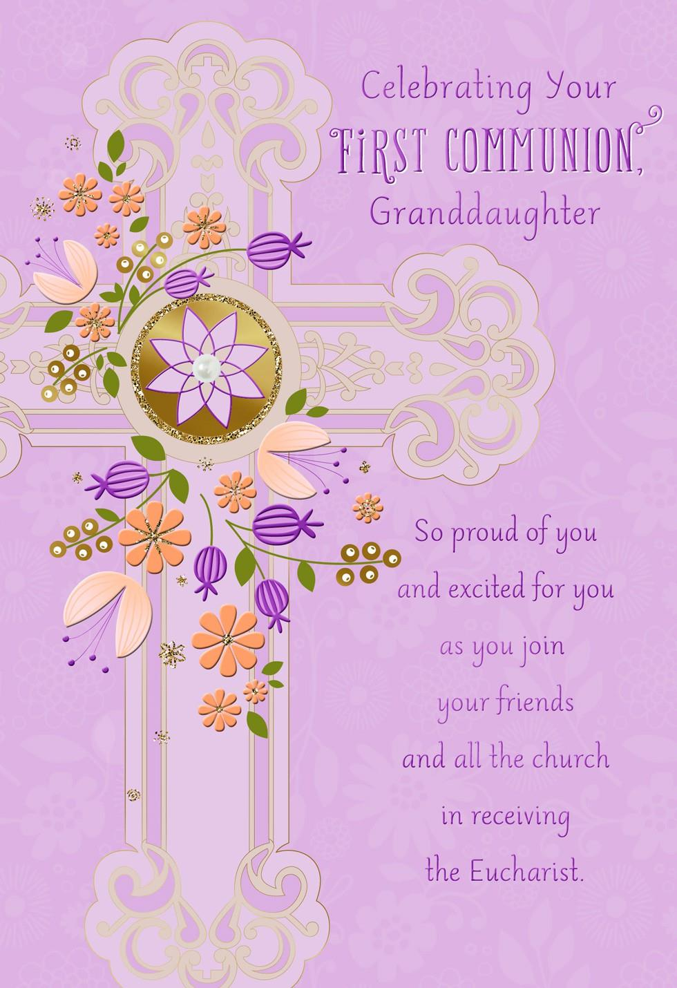 purple flowers and cross first communion card for