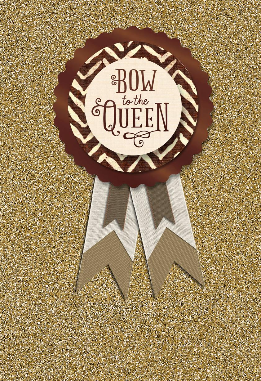 Bow To The Queen Mothers Day Card With Pin On Button