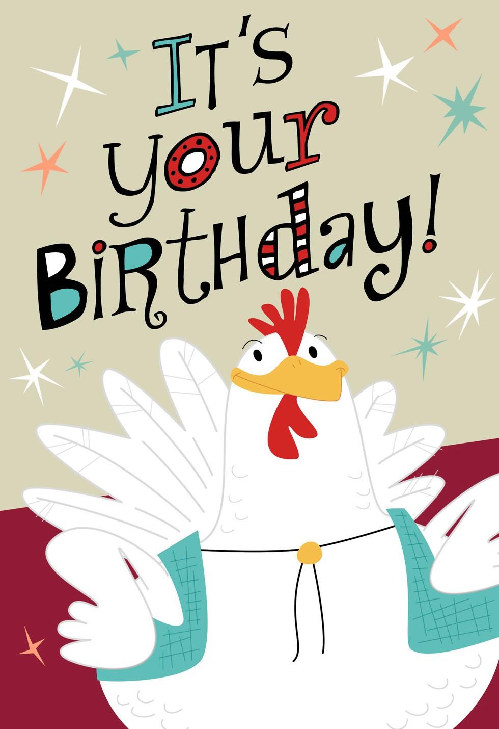 chicken and accordion musical birthday card