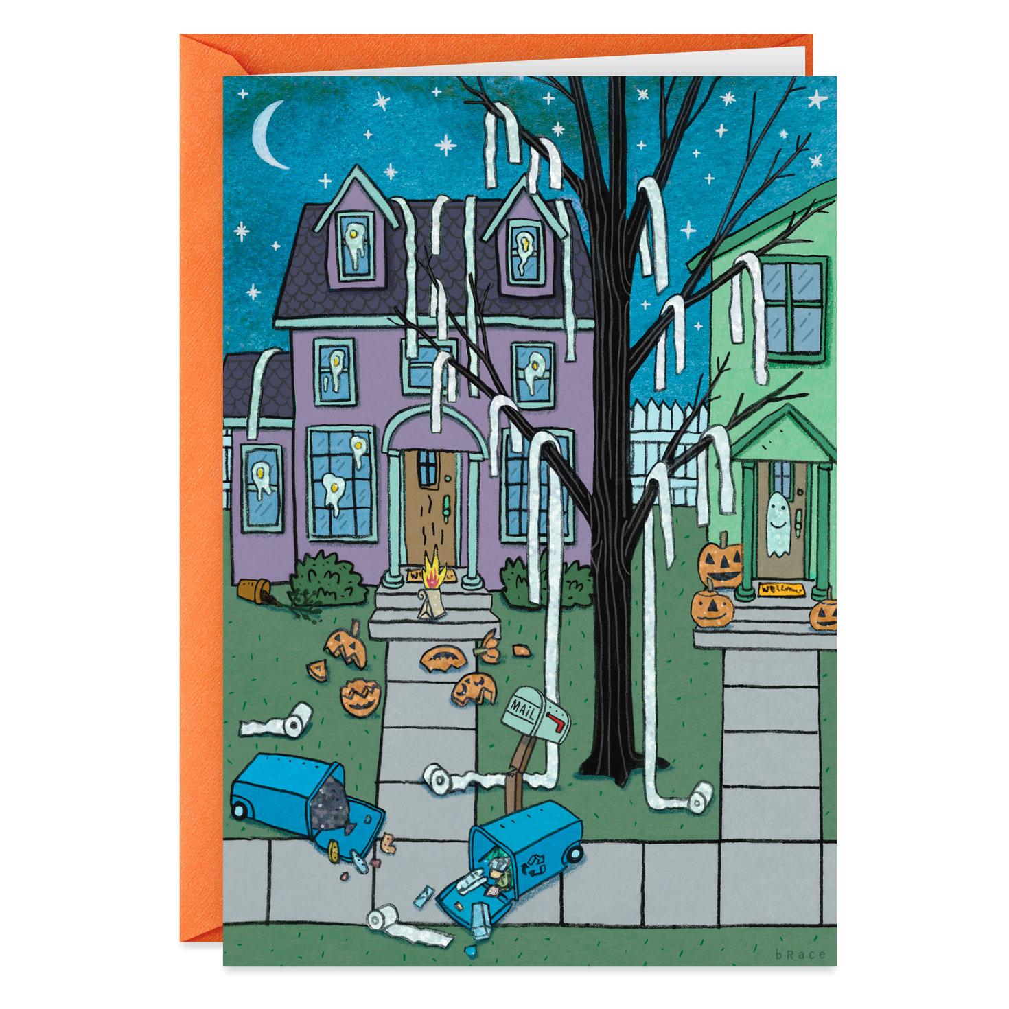 teepeed house funny halloween card  greeting cards  hallmark
