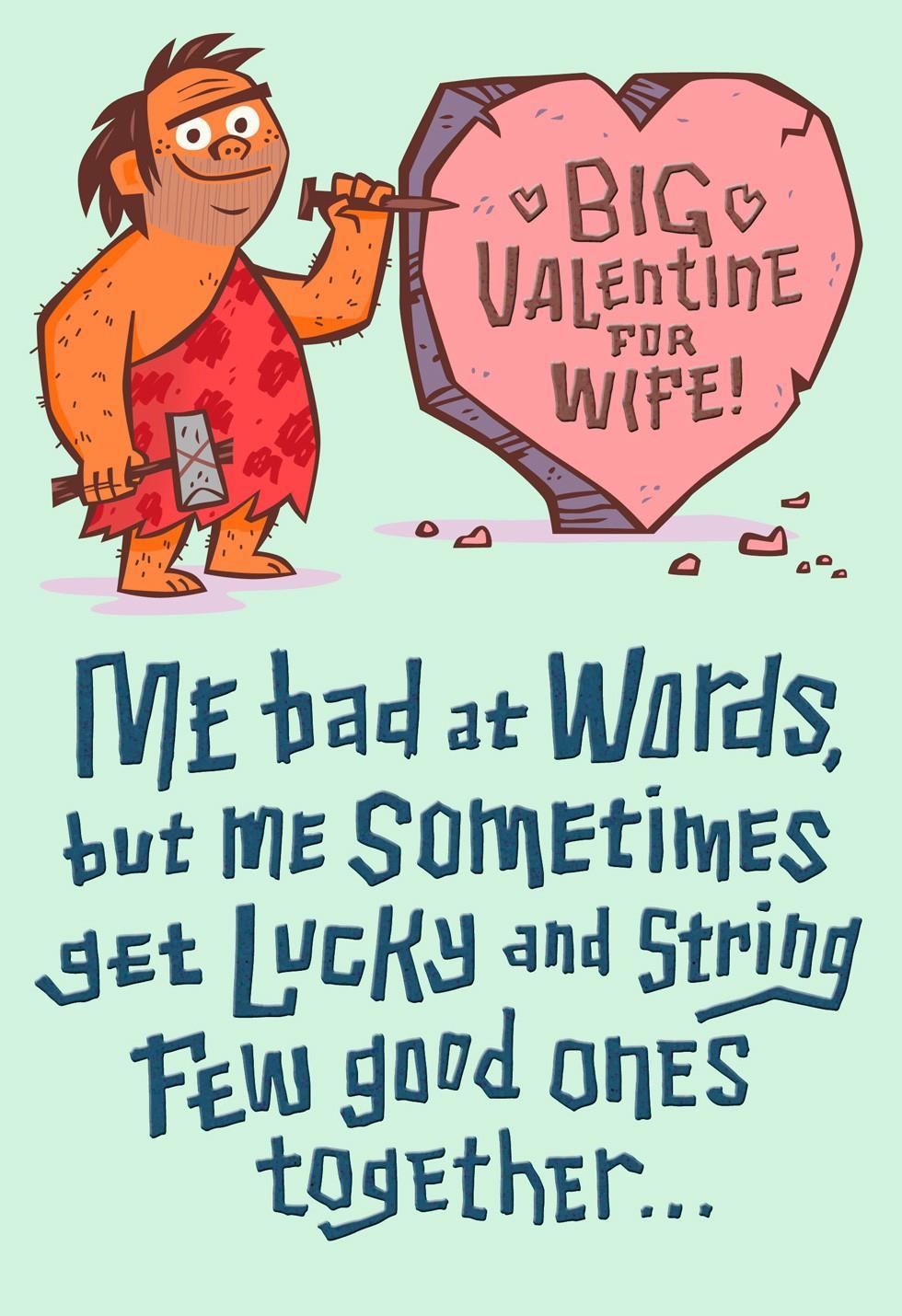 Caveman Big Valentine For Wife Valentines Day Card Greeting – Valentine Day Cards for Wife