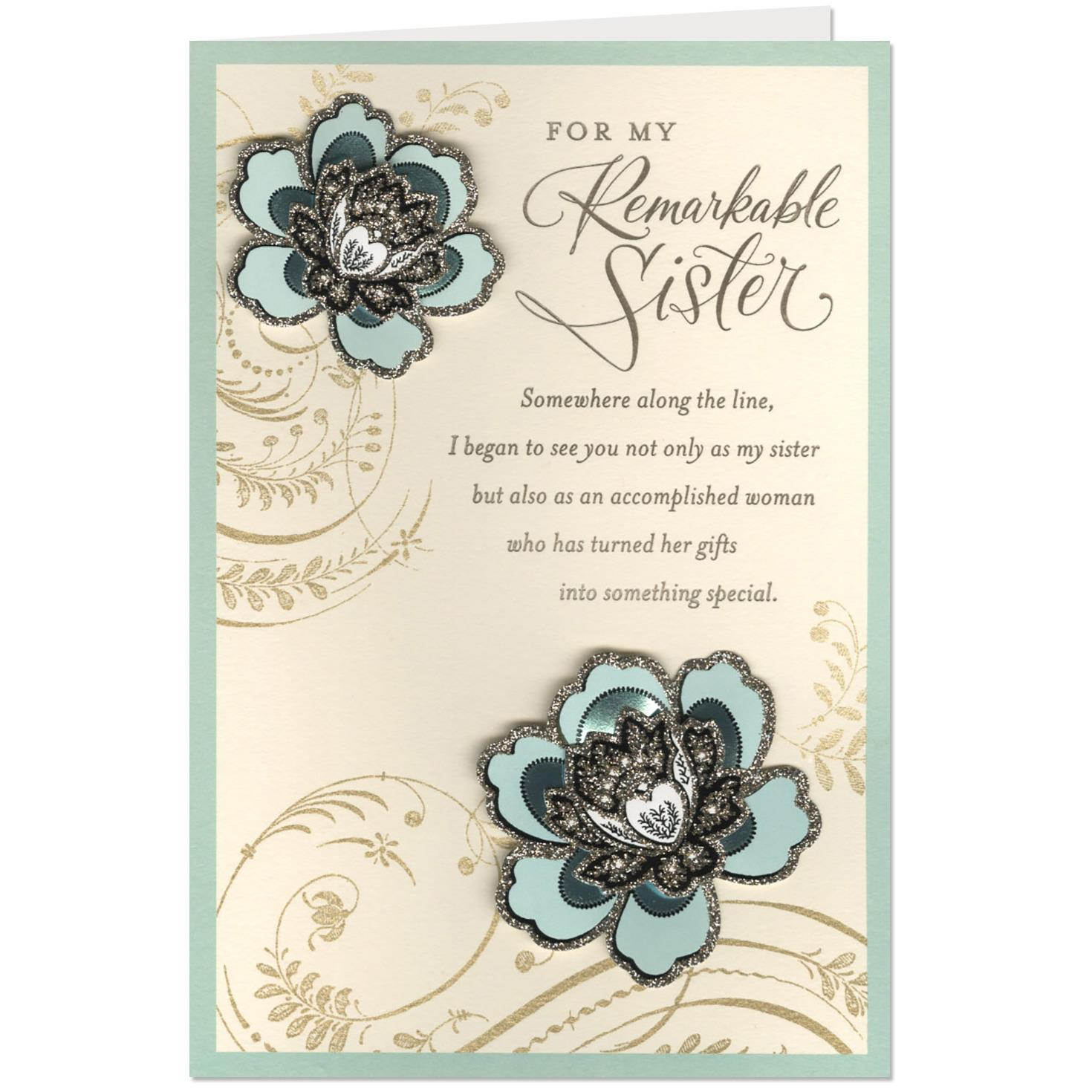 Wonderful Sister And Beautiful Woman Birthday Card For