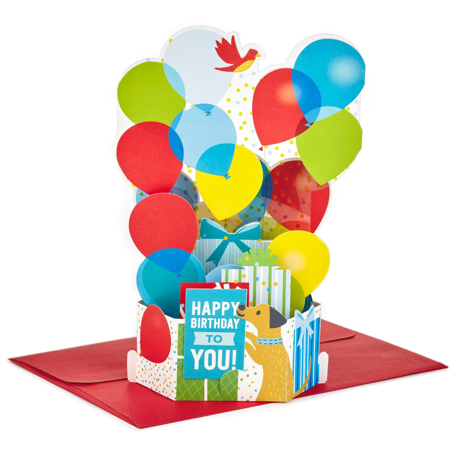 Burst Of Balloons Pop Up Birthday Card