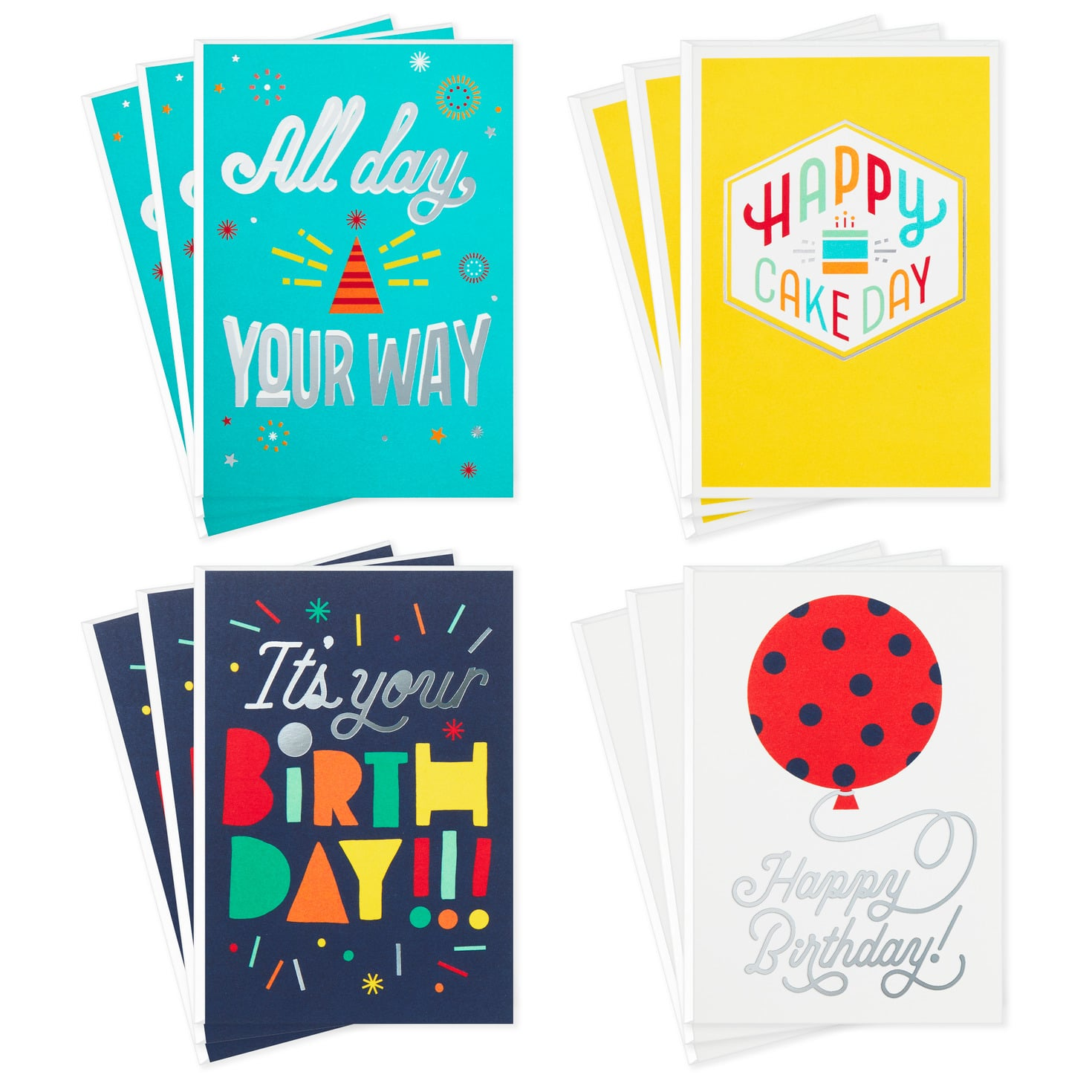 Bold And Bright Assorted Birthday Cards, Pack Of 12