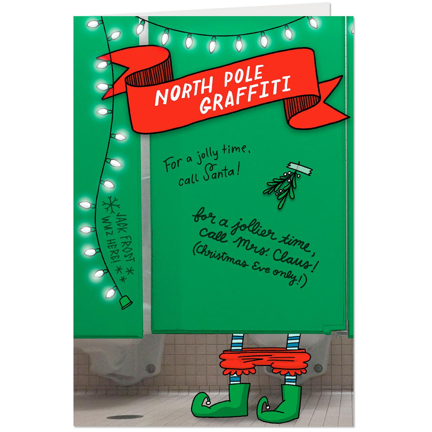 North Pole Bathroom Graffiti Funny Christmas Card
