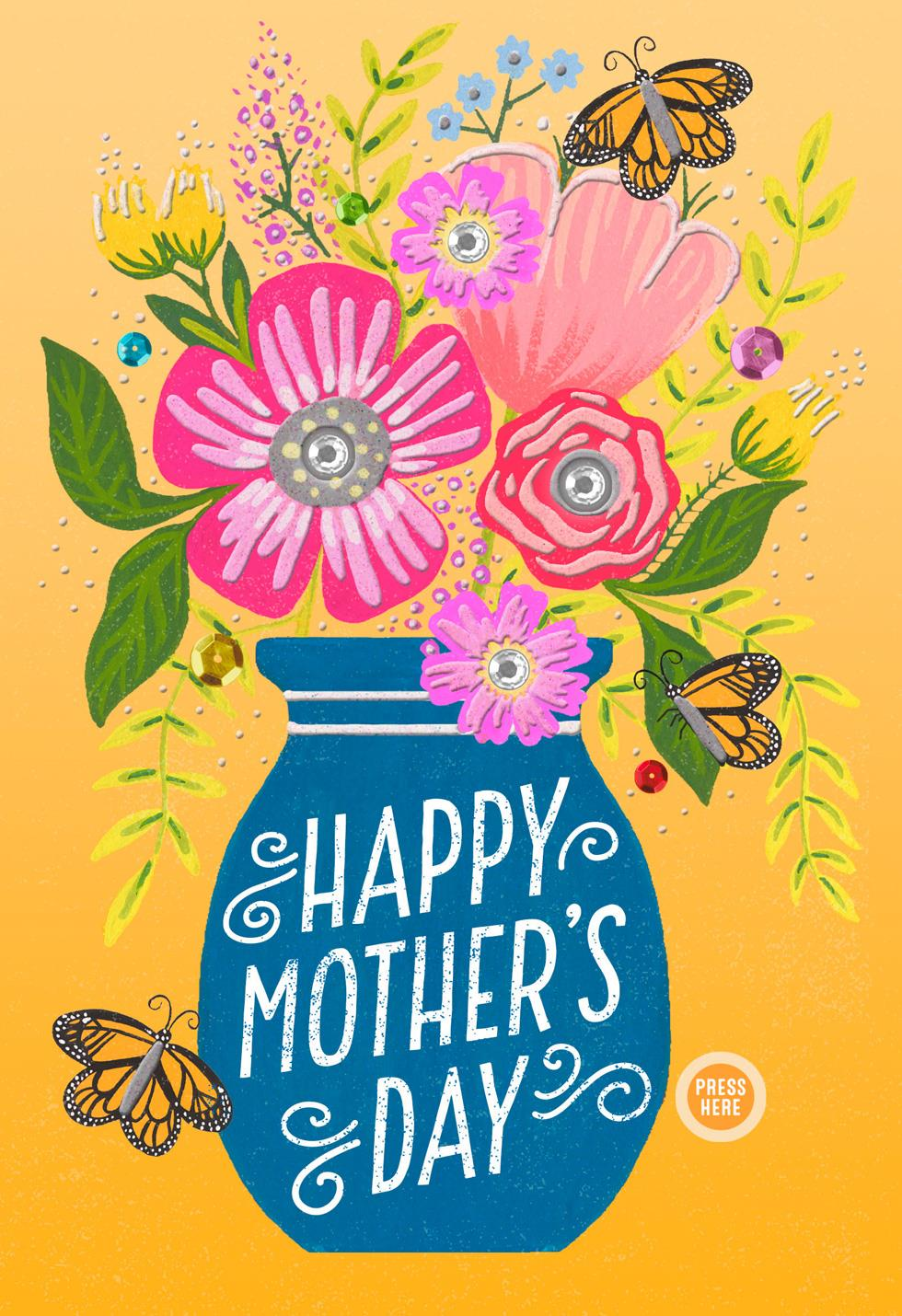 Vase of flowers musical mother 39 s day card greeting cards Hallmark flowers