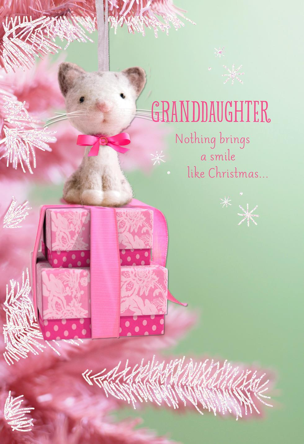 pink cat ornament christmas card for granddaughter