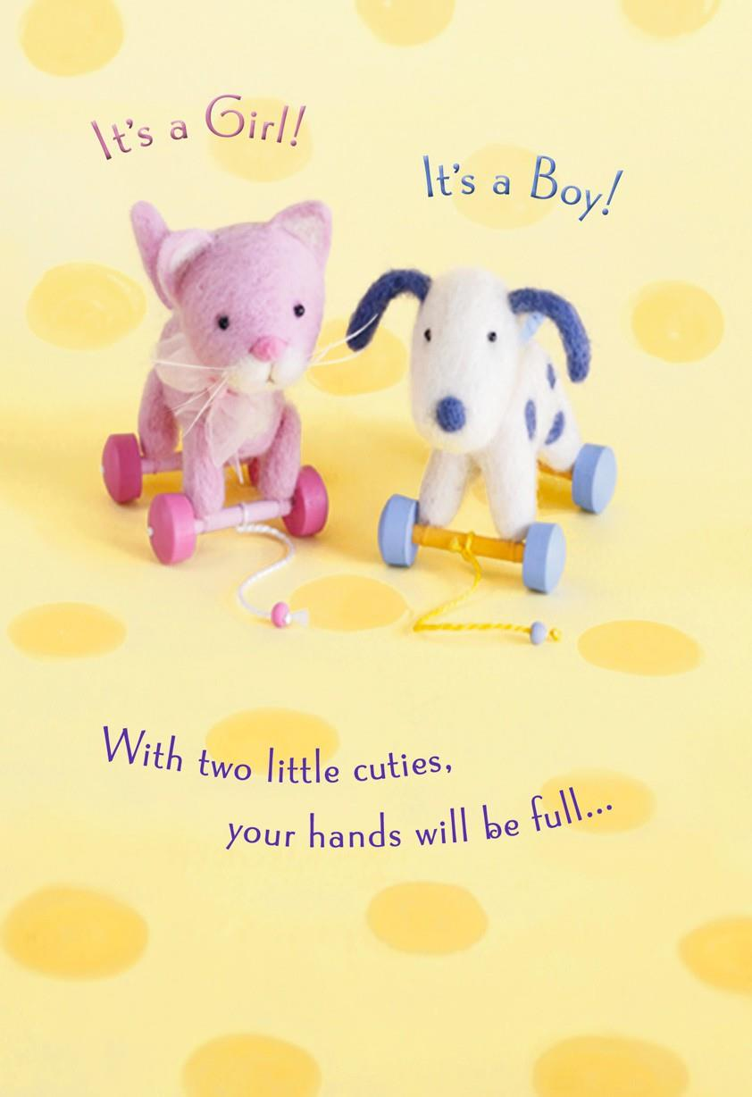 Toys Girl And Boy Twins Congratulations Card Greeting