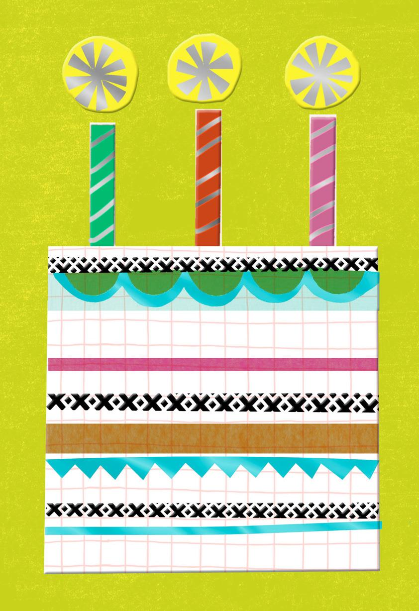 cool collage birthday cake blank card